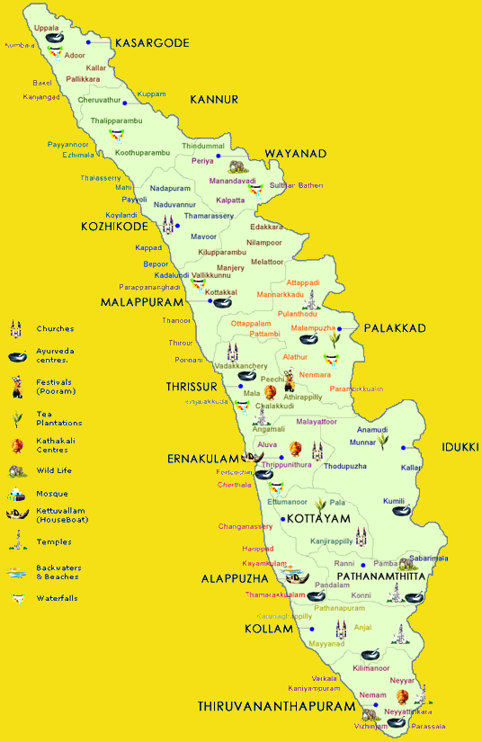kerala-tourism map | South India tour | Kerala Moments